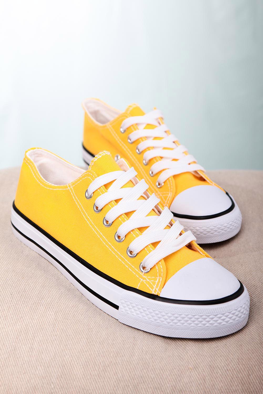 Żółte trampki sznurowane Casu 888-1 żółty